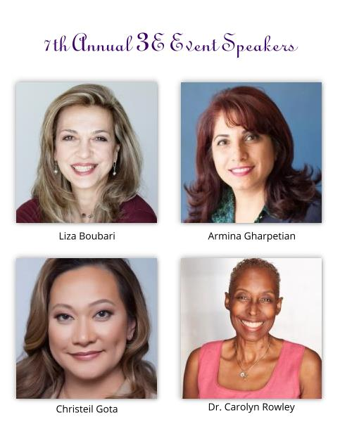 Speakers for 7th Annual 3E Event: Liza Boubari, Armina Armina Gharpetian, Christeil Gota, and Dr. Carolyn Rowley